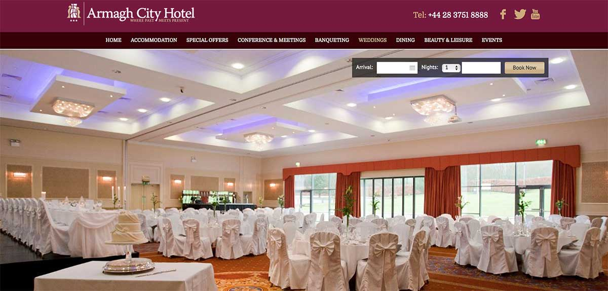 Screenshot of the Armagh City Hotel and wedding venue Armagh website