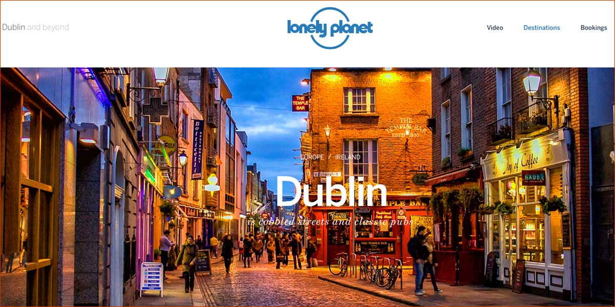 Screenshot of the Dublin page of the Lonely Planet website