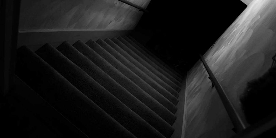 Photo of a dark staircase