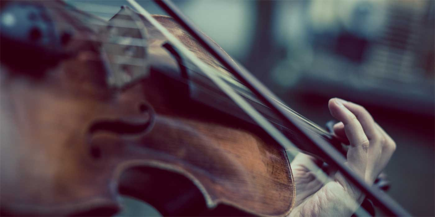 Close up photo of a fiddle violin