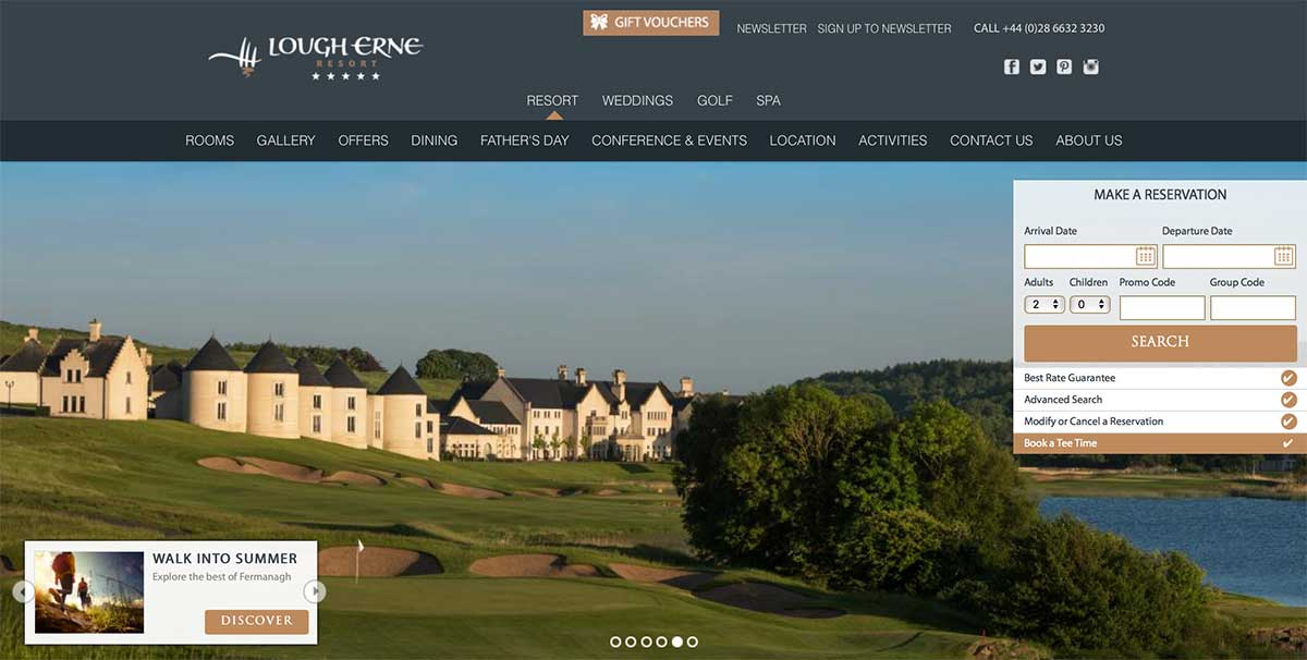Screenshot of the Lough Erne Resort and wedding venue Enniskillen County Fermanagh