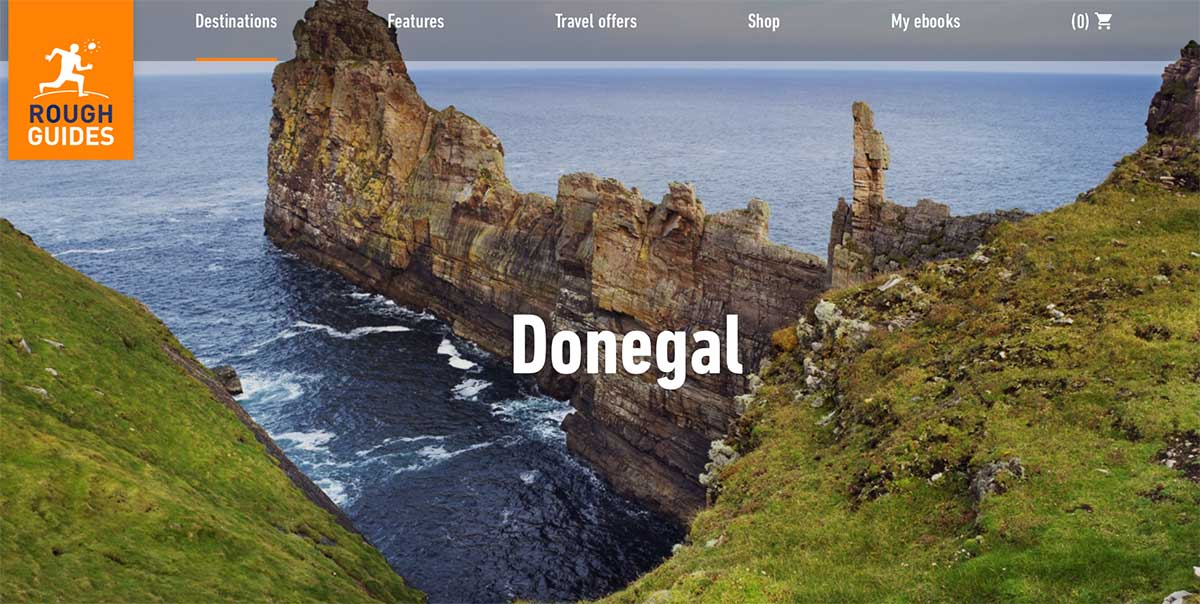 Screenshot of the Donegal page of the Rough Guides website