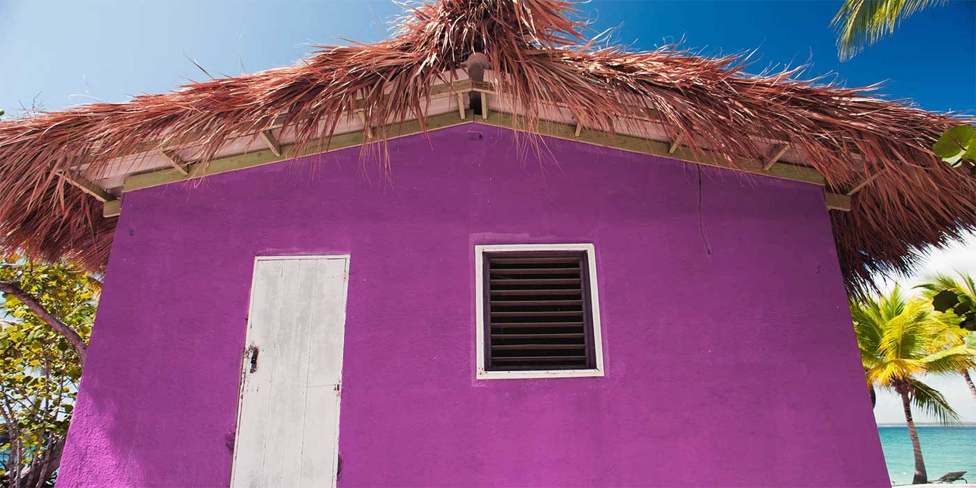 Photo of a pink beach shack