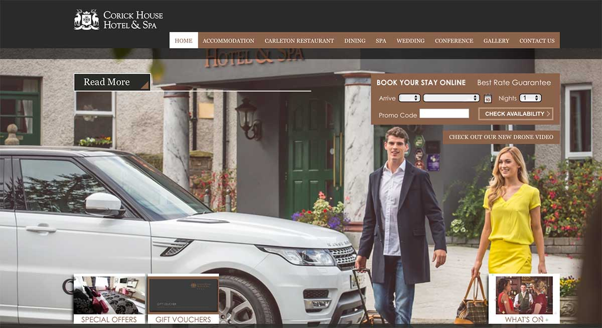 Screenshot of the Corick House Hotel Clogher website