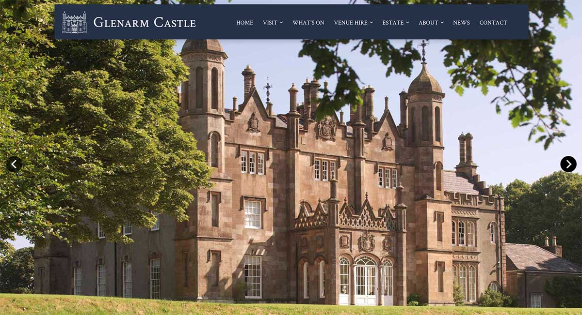 Screenshot of the Glenarm Castle and wedding venue Antrim website