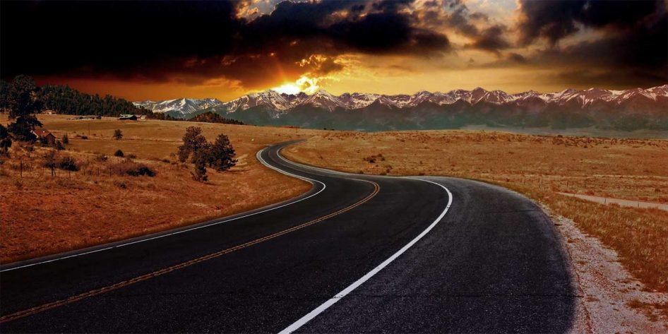 Photo of a long winding road