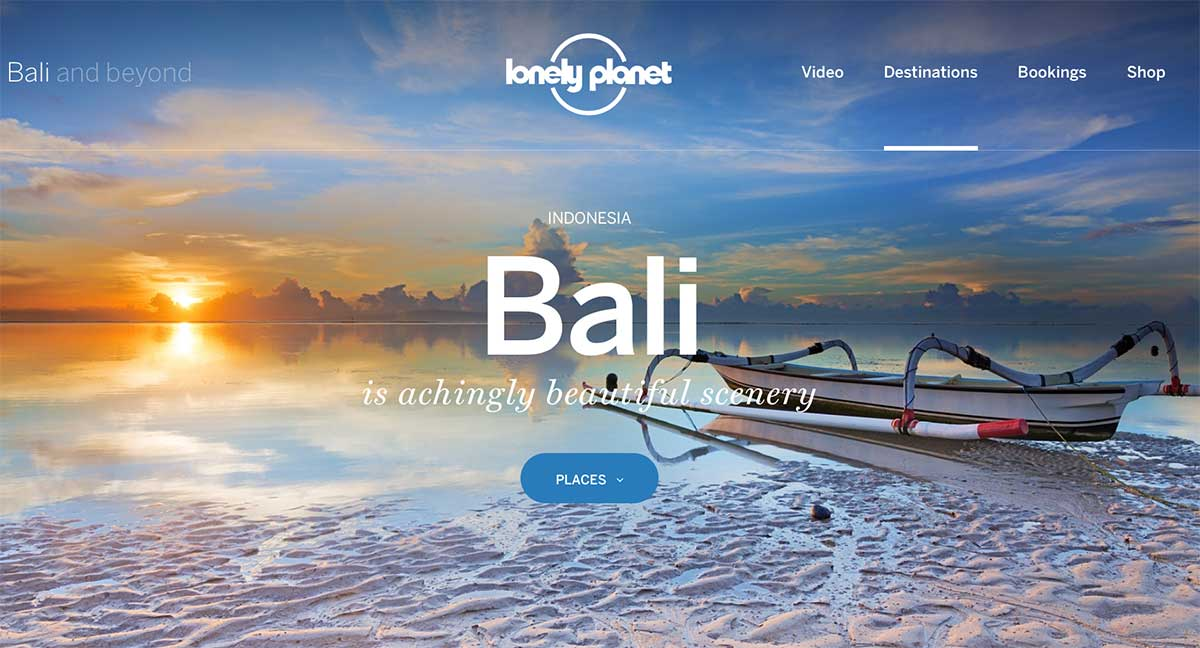 Screenshot of the Bali page of the Lonely Planet website