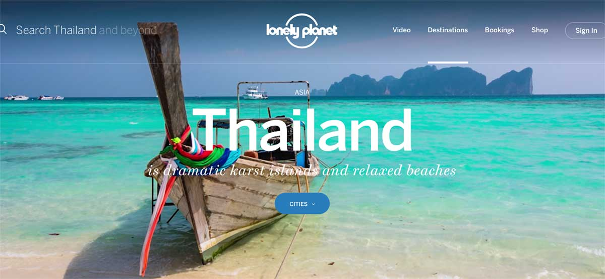 Screenshot of the Thailand page of the Lonely Planet website