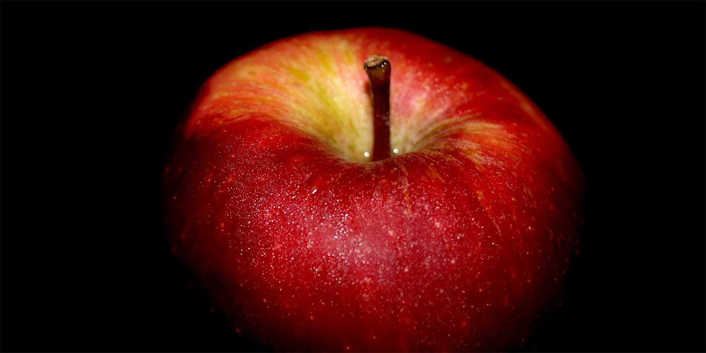 Close up of a big red apple