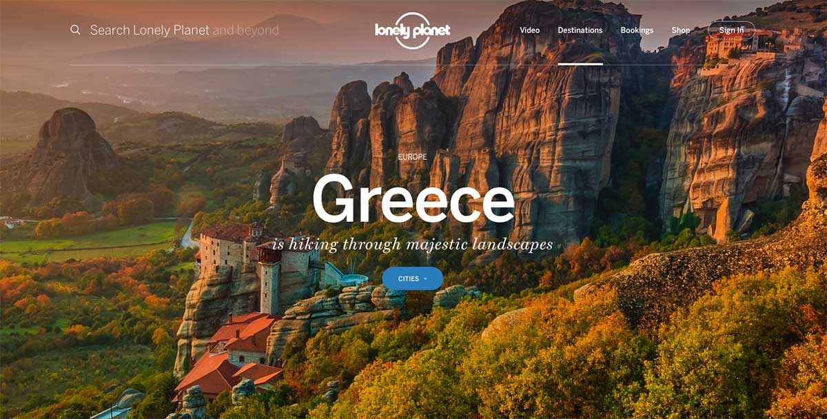 Screenshot of the Greece page of the Lonely Planet website