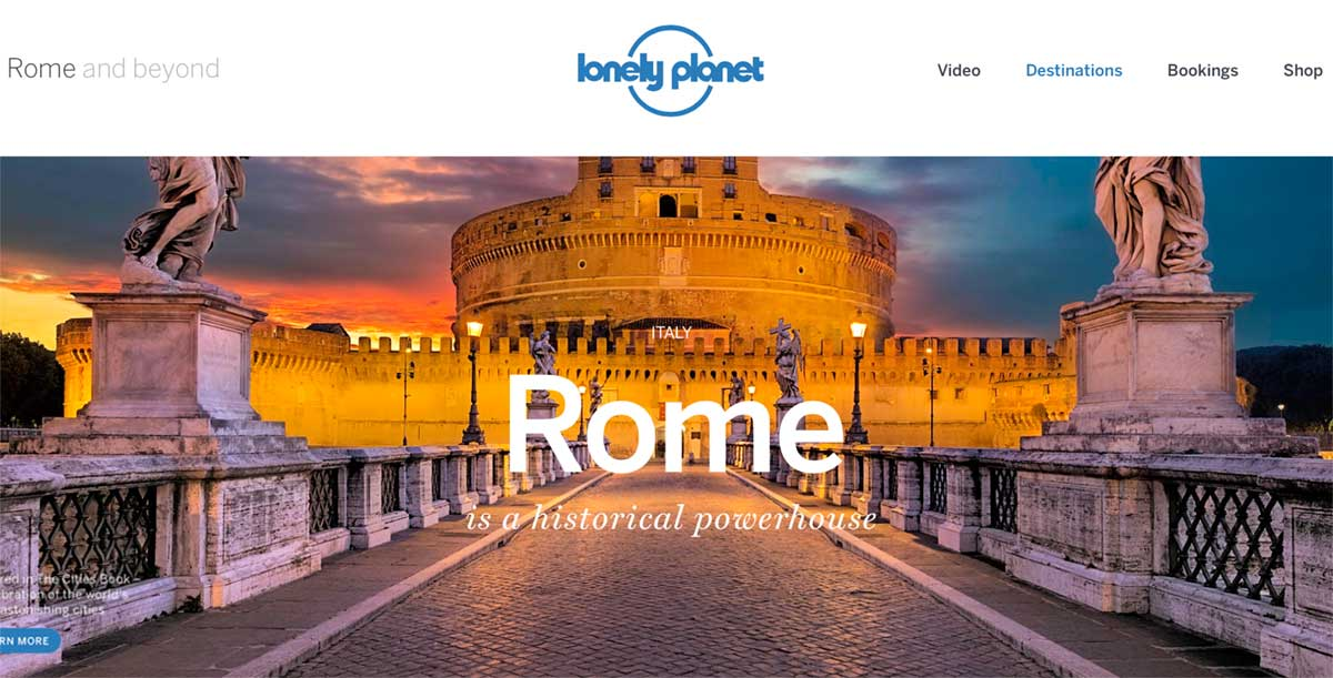 Screenshot of the Rome page of the Lonely Planet website