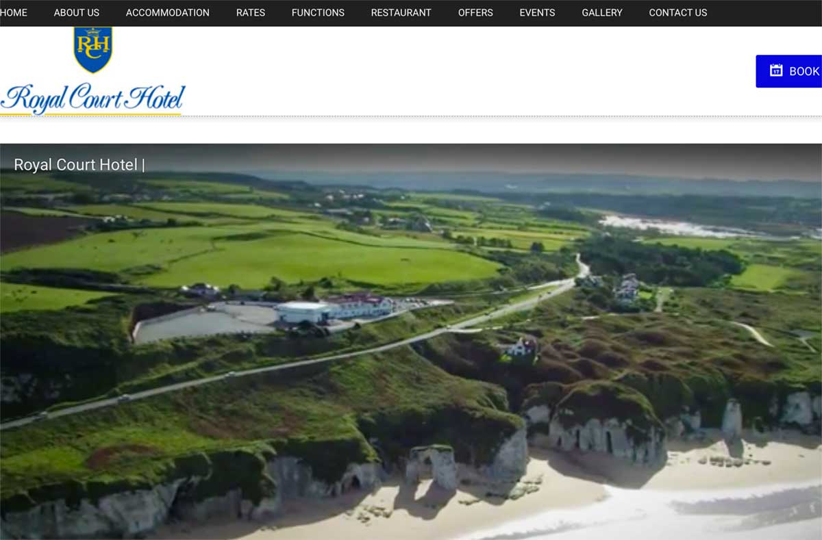 Screenshot of the Royal Court Hotel and wedding venue Portrush County Antrim