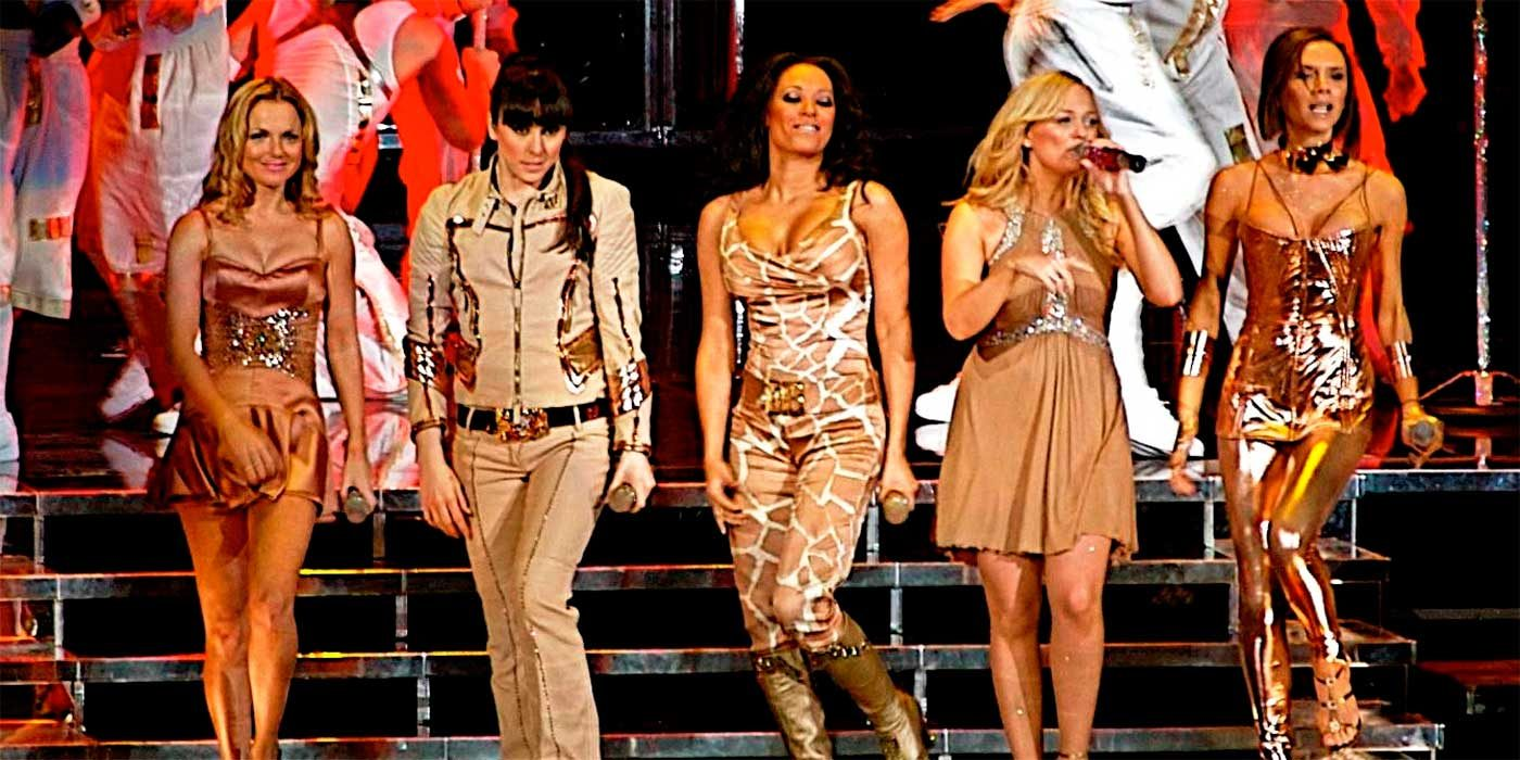 Photo of the Spice Girls on stage