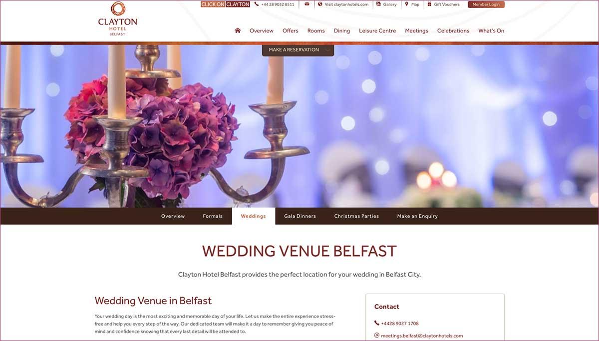 Screenshot of the Clayton Hotel Belfast website
