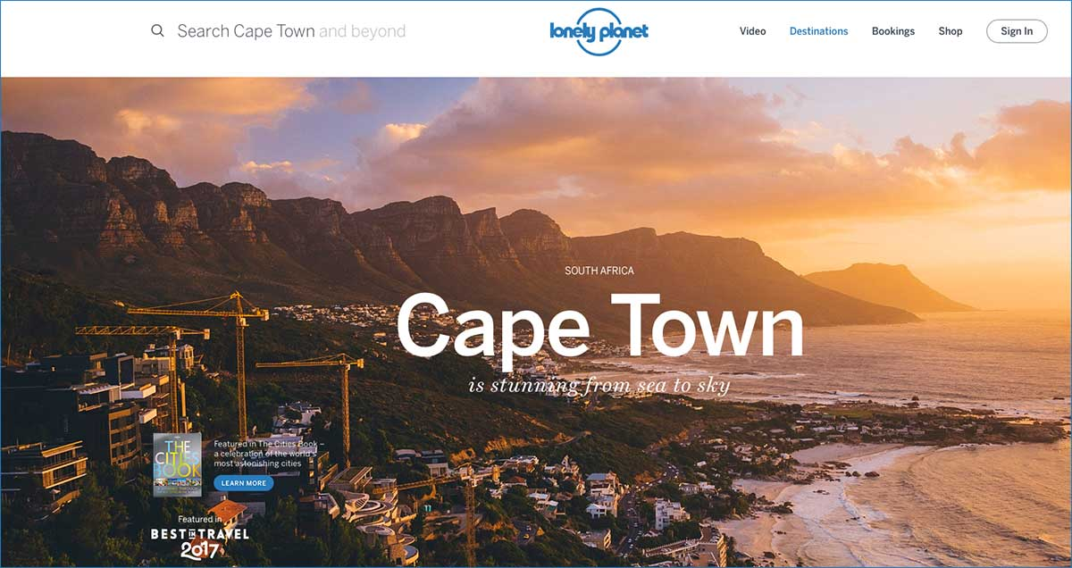 Screenshot of the Cape Town page of the Lonely planet website