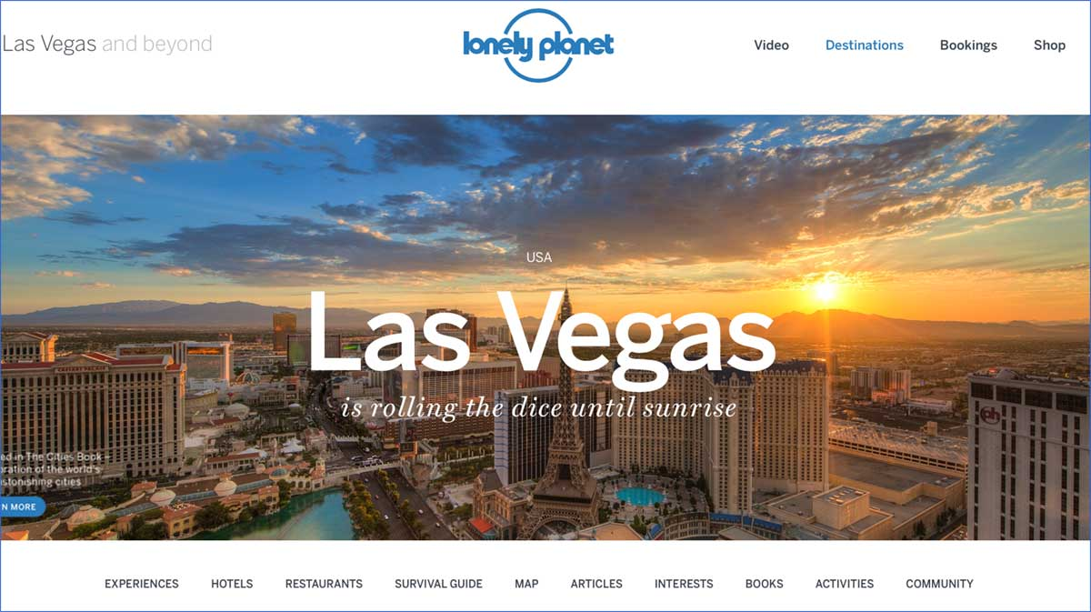 Screenshot of the Las Vegas page of the Lonely Planet website