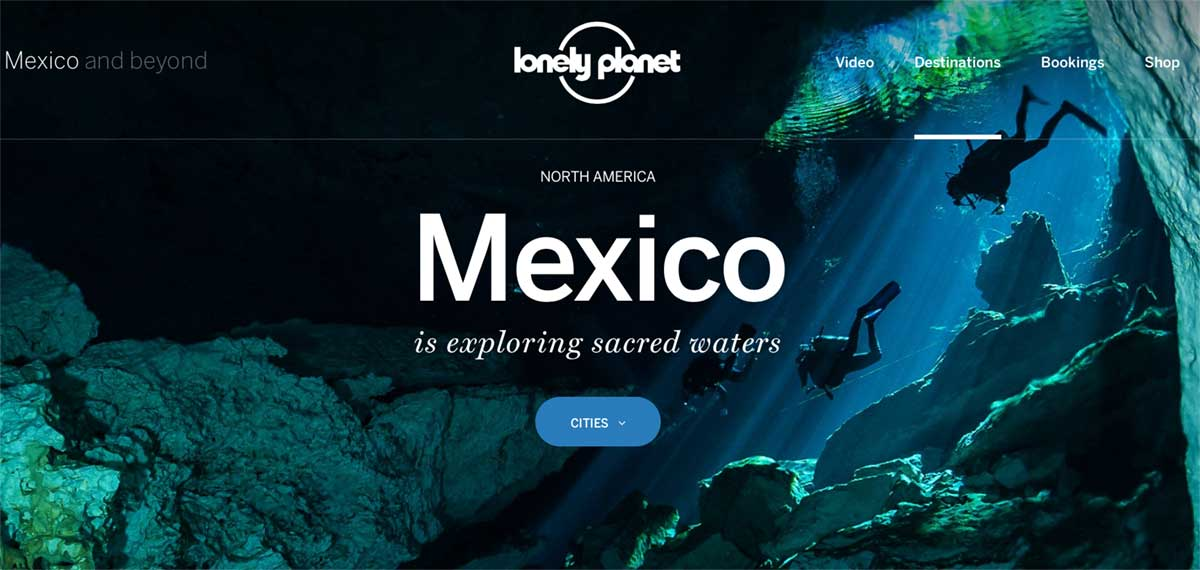 Screenshot of the Mexico page of the Lonely Planet website