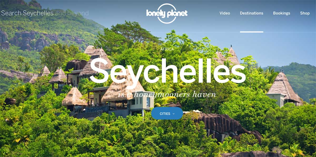 Screenshot of the Seychelles page on the Lonely Planet website