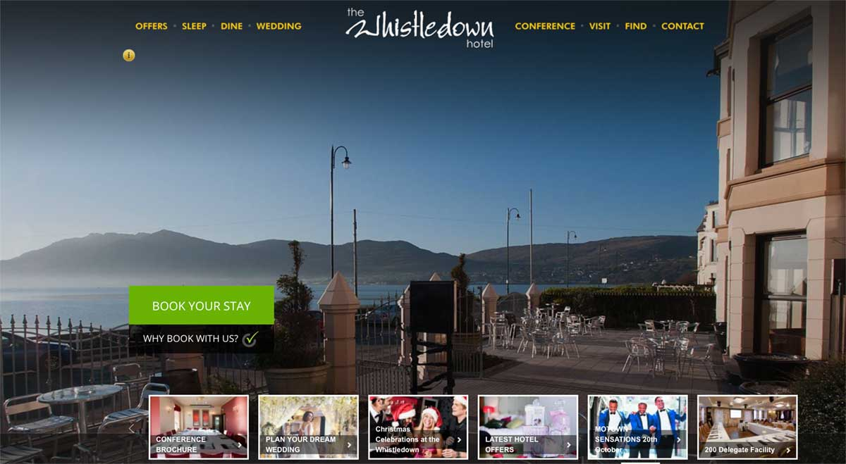 Screenshot of the Whistledown Hotel Warrenpoint website