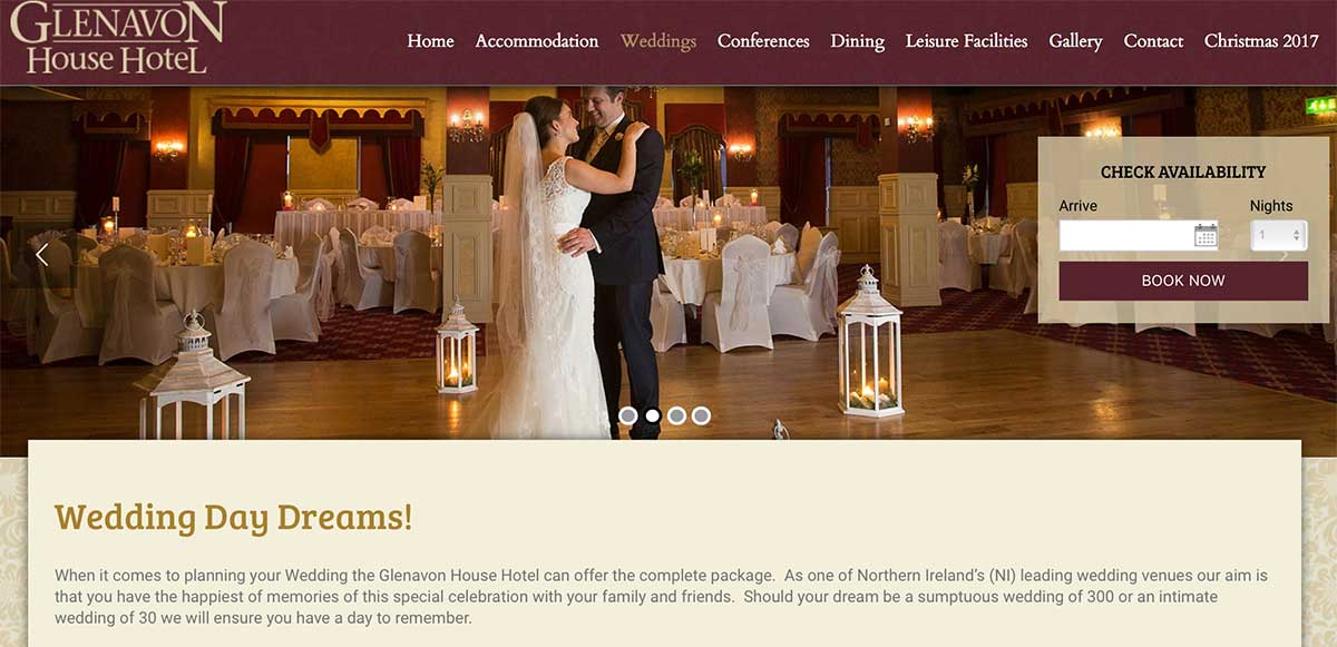 Screenshot of the Glenavon Hotel and wedding venue Cookstown County Tyrone