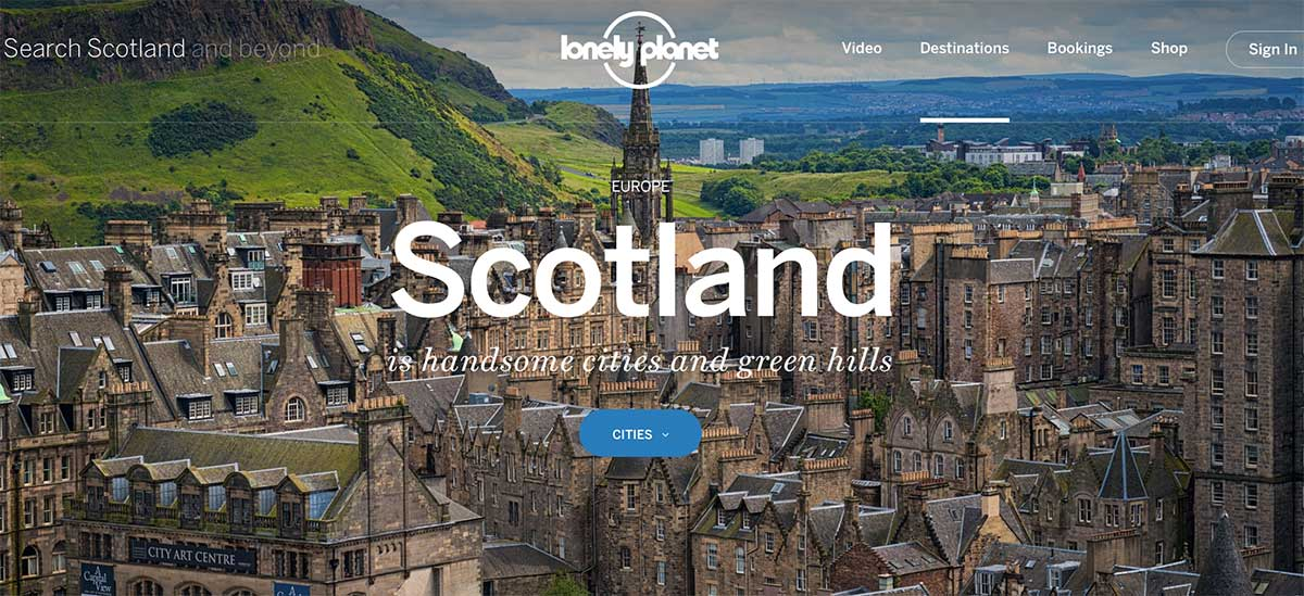 Screenshot of the Lonely Planet Scotland webpage