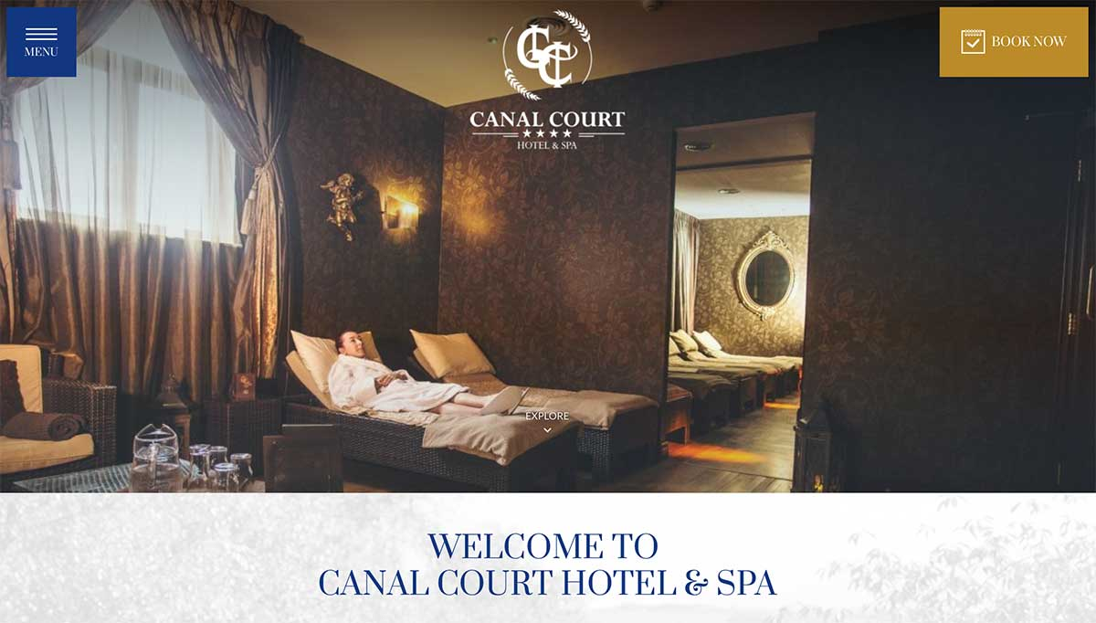 Screenshot of the Canal Court Hotel Newry website
