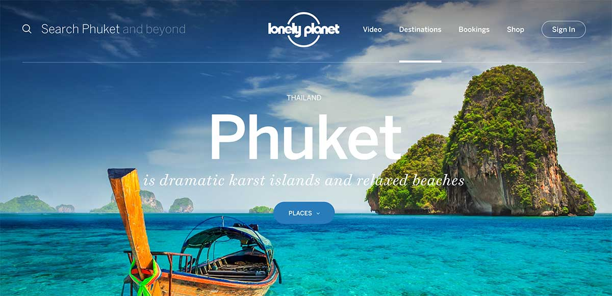 Screenshot of the Phuket Thailand page of the Lonely Planet website
