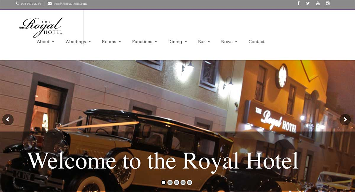 Screenshot of the Royal Hotel Cookstown website