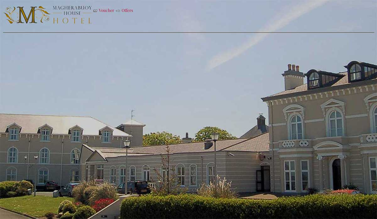 Screenshot of the Magherabuoy House Hotel Portush website