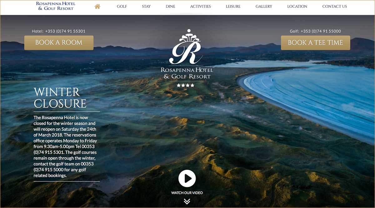 Screenshot of the Rosapenna Hotel Downings Donegal website