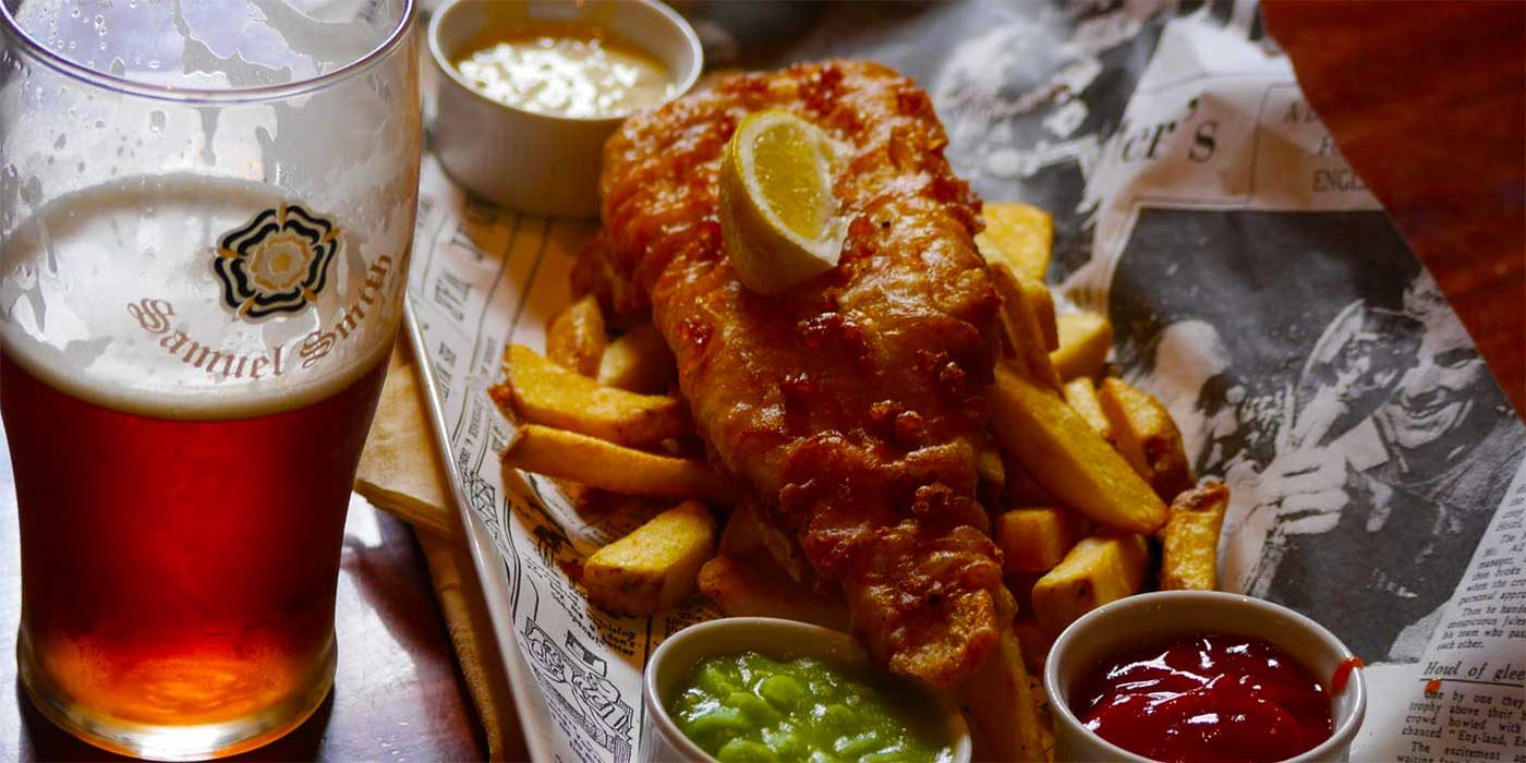 Photo of beer, fish and chips