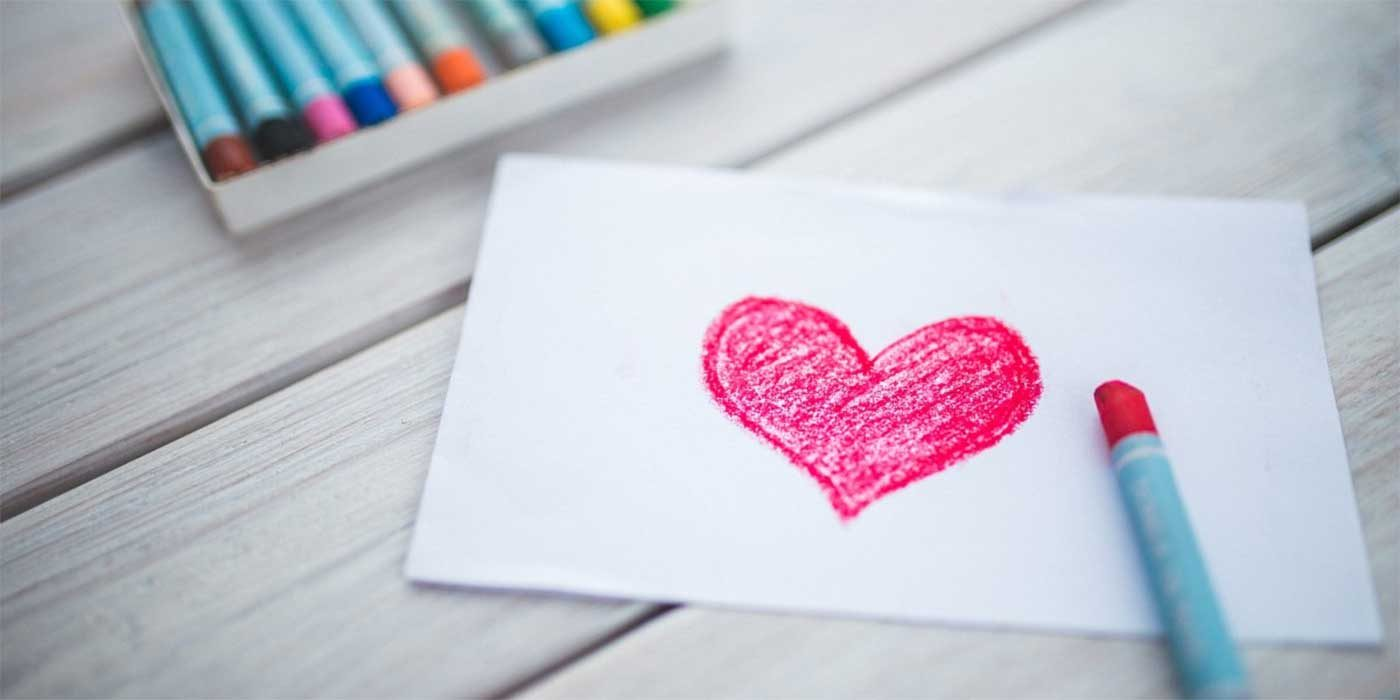 Photo of a crayon drawing of a heart