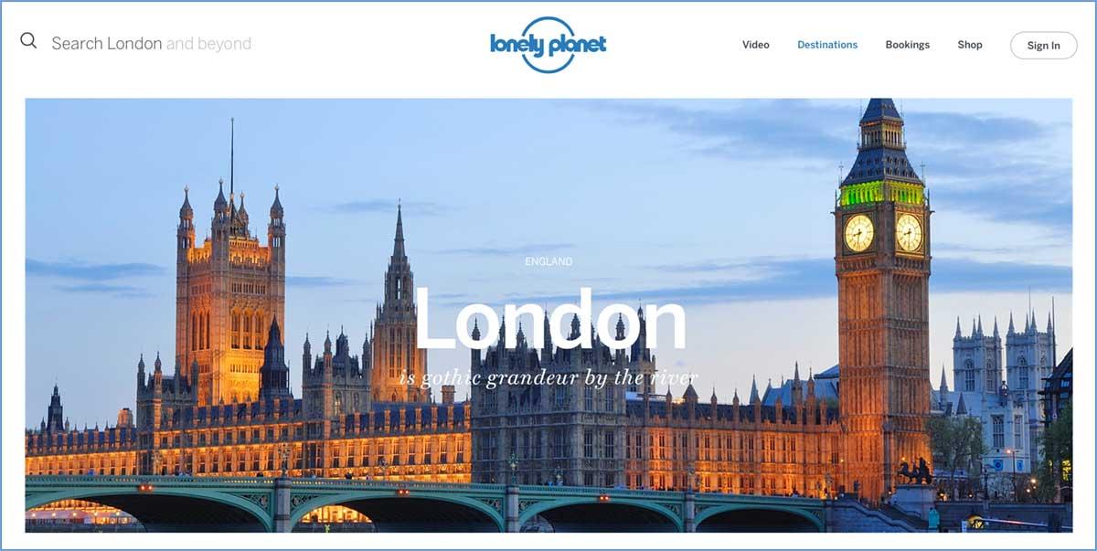 Screenshot of the London page of the Lonely Planet website