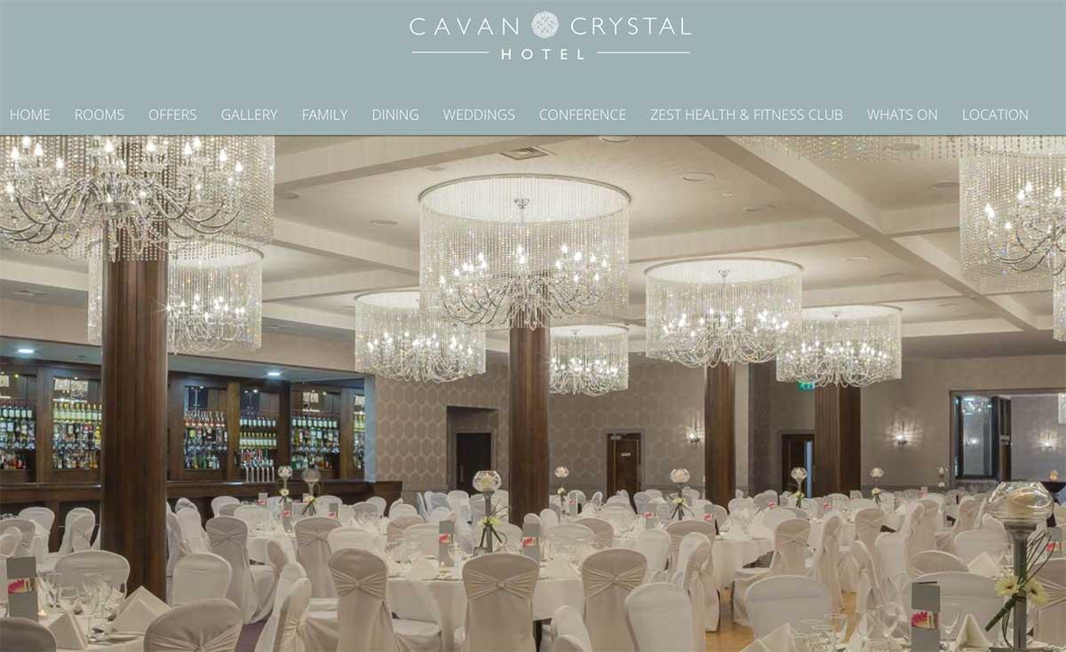 Screenshot of the Cavan Crystal Hotel website