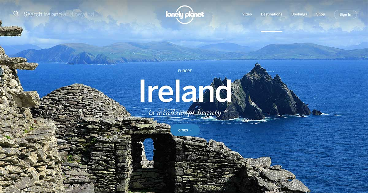 Screenshot of the Ireland page of the Lonely Planet website