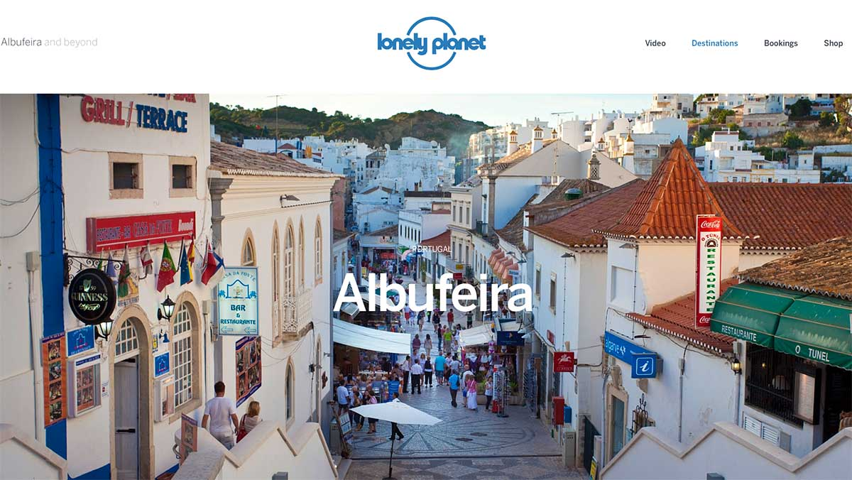 Screenshot of the Albufeira Portugal page of the Lonely Planet website