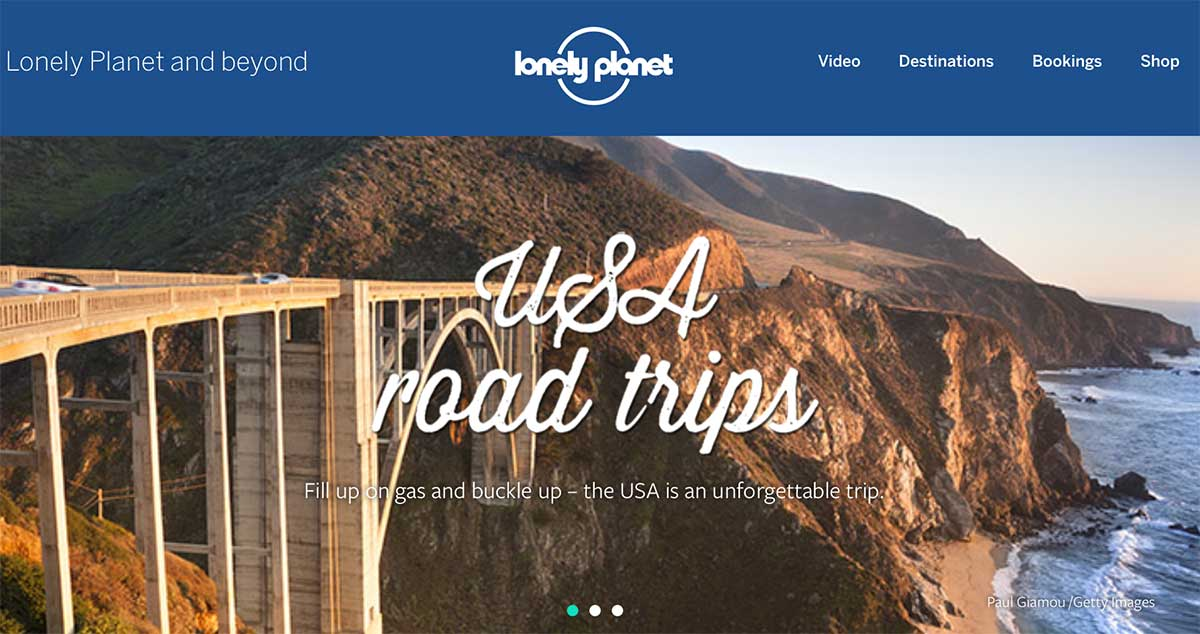 Screenshot of the USA road trips page of the Lonely Planet website