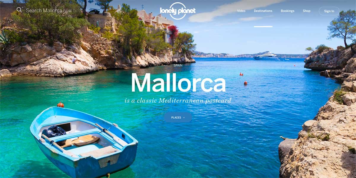 Screenshot of the Mallorca page of the Lonely Planet website