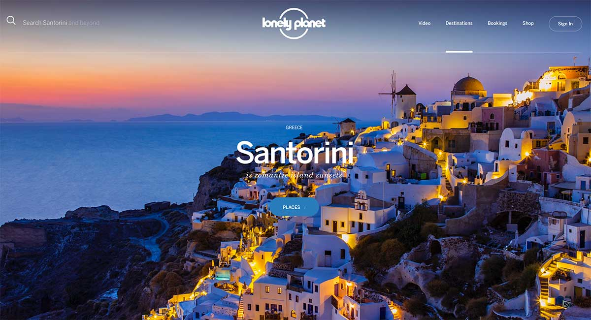Screenshot of the Santorini page of the Lonely Planet website