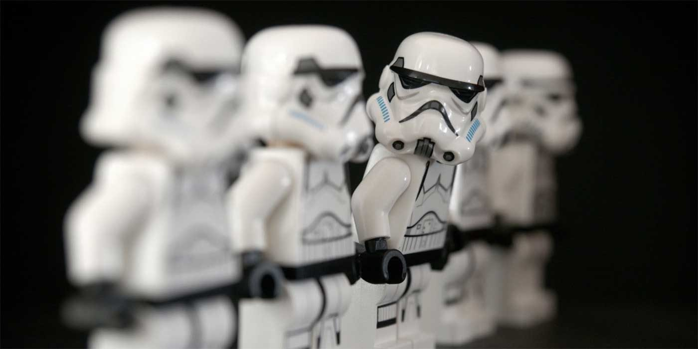 Photo of some Lego Star Wars stormtroopers