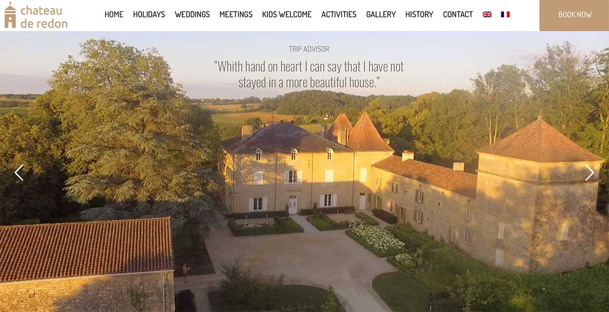 Screenshot of the Chateau de Redon France website