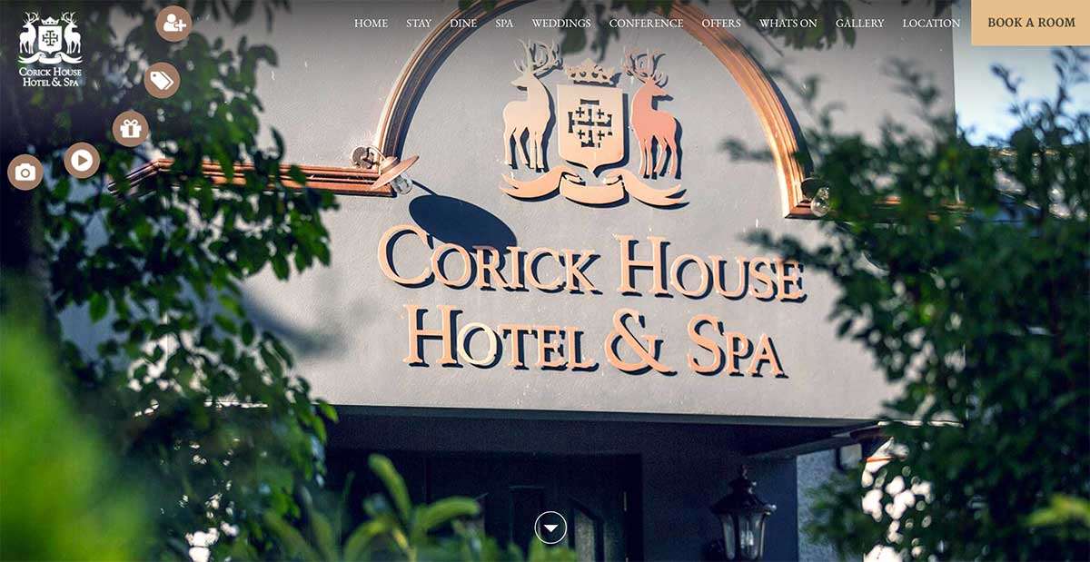 Screenshot of the Corick House Hotel and wedding venue Clogher Tyrone website