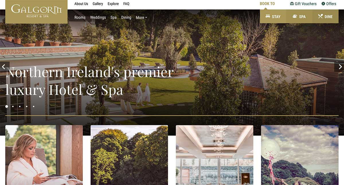 Screenshot of the Galgorm Resort Ballymena website