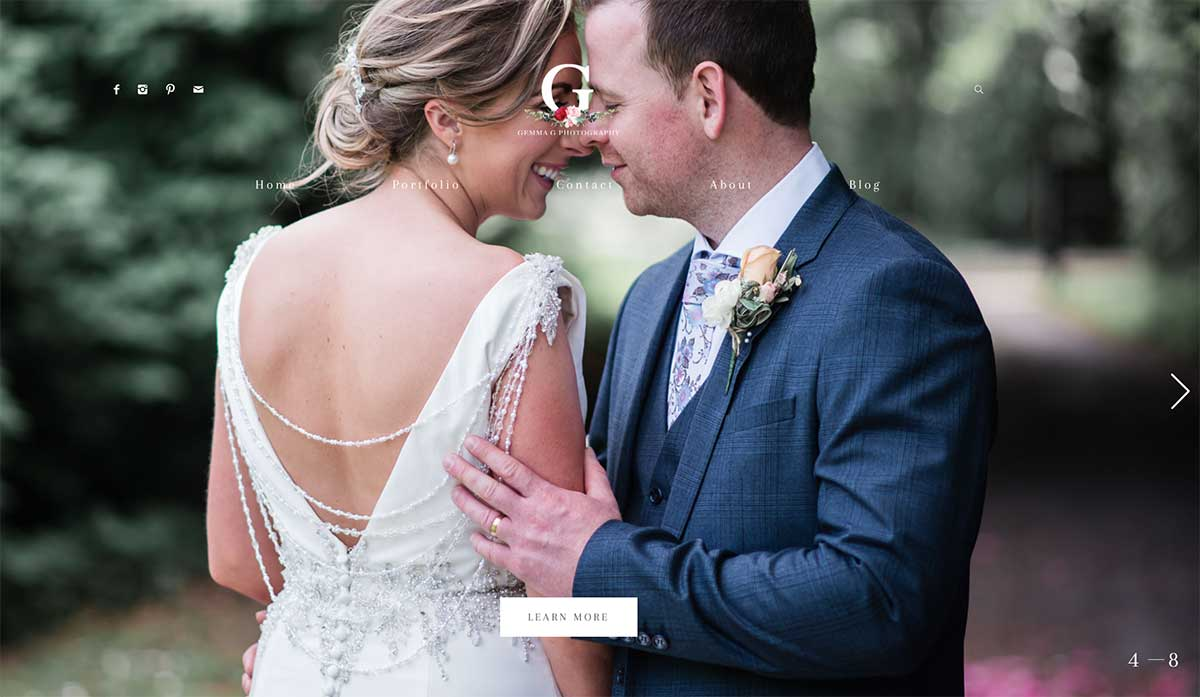 Screenshot of the Gemma G photography wedding website Omagh