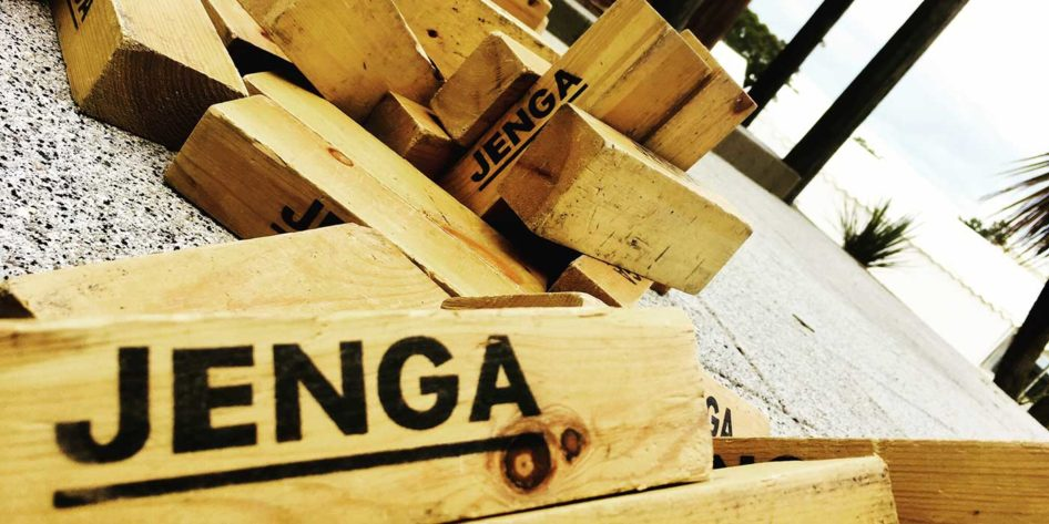 Photo of collapsed Jenga blocks at Rossharbour wedding venue Fermanagh