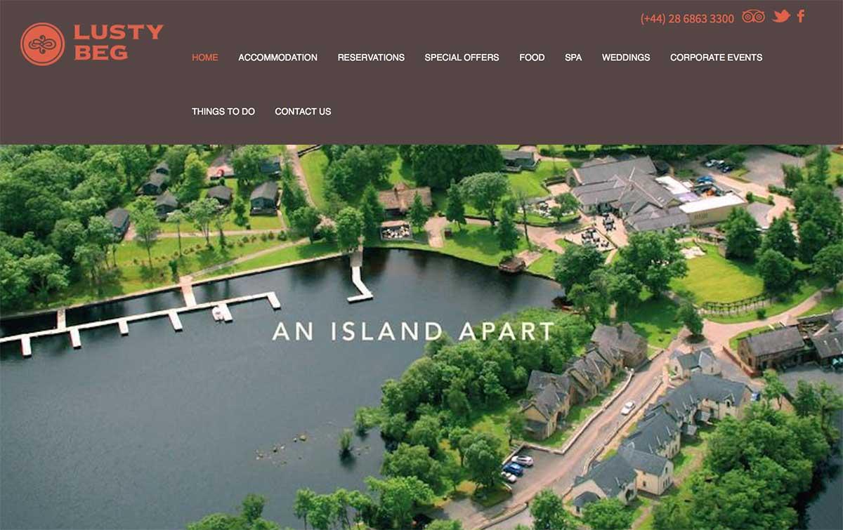 Screenshot of the Lusty Beg Island Kesh website