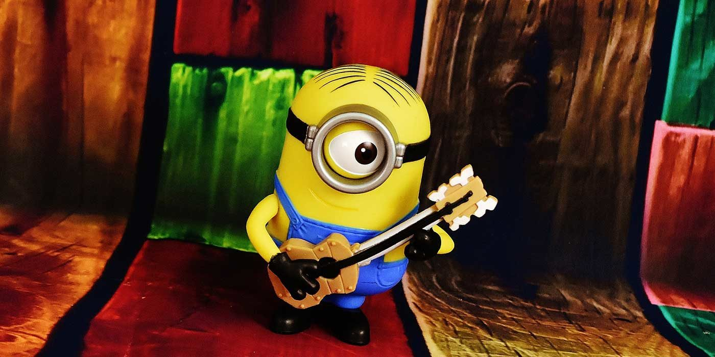 Photo of the Minion Gary with a guitar