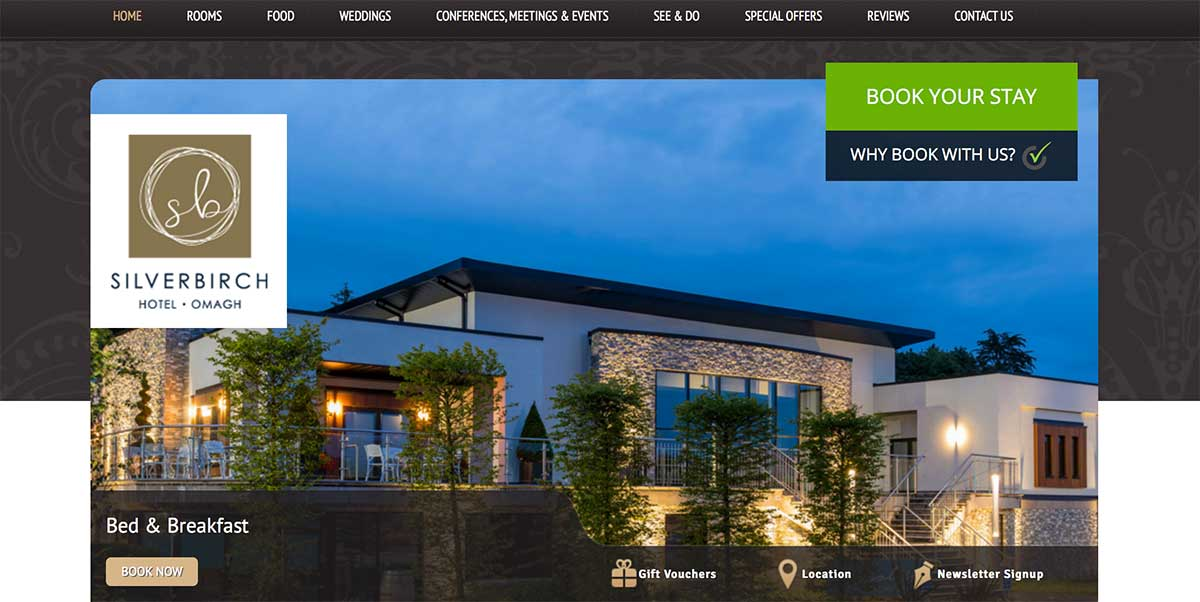 Screenshot of the Silver Birch Omagh website