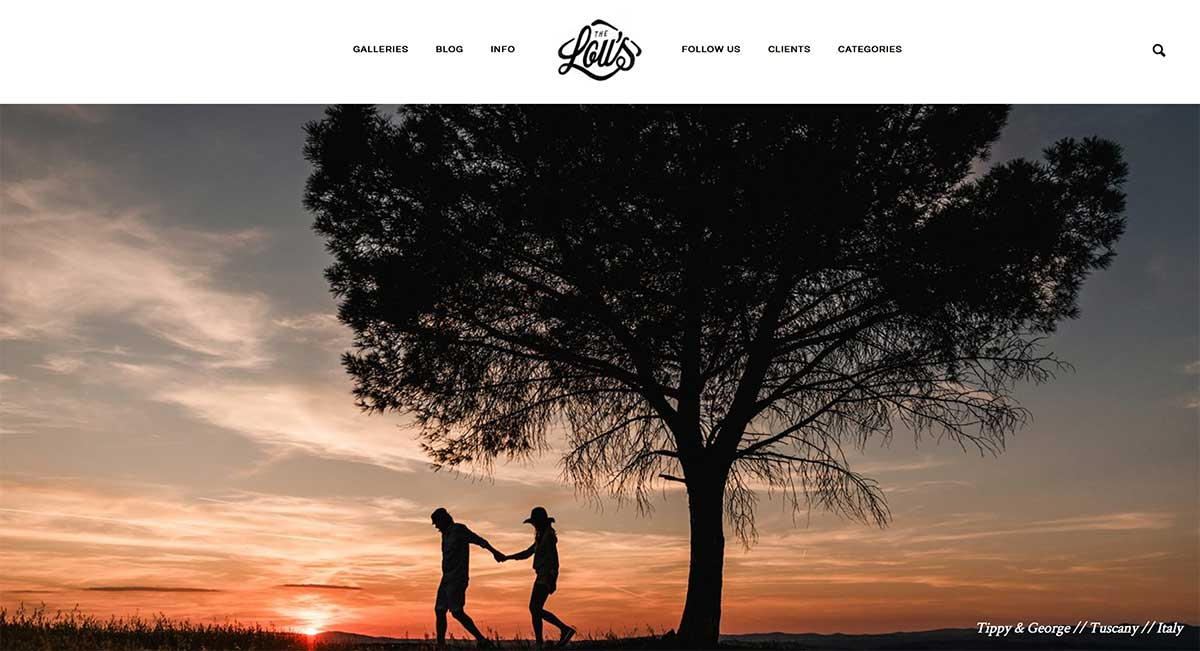 Screenshot of the Lous Destination Wedding Photographers website