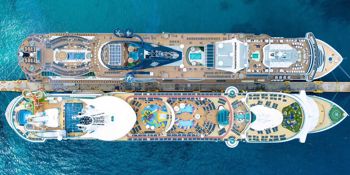 Aerial photo of two cruise ships taken by Brandon Nelson